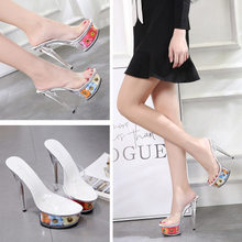 8db3d8ce1e3 Sexy Clear Pvc Women Shoes Slippers Plastic Crystal High Heels 15CM  Transparent Open Toe Flowers Platform