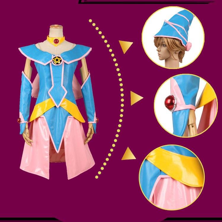 Yu-gi-oh noir magique femme noir magicien foncé fille Hallowmas uniforme Costume robe Cosplay Anime Costume toute taille