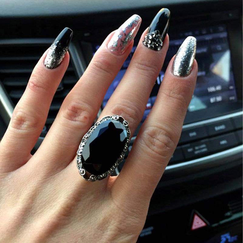Sinleery vintage grande preto oval anéis de pedra para mulher tamanho 6 7 8 9 10 antigo prata cor jóias anel jz516 ssc
