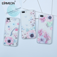 EIRMEON Case For iPhone 7 8 Plus 5 5S SE 3D Relief Soft TPU Flower Painted Cases 6 6S X XR XS Max Shell Capa