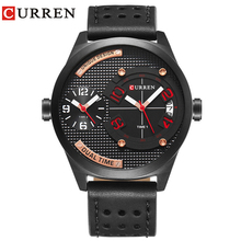 CURREN Luxury Brand 2019 New Black Leather Strap Fashion Casual Business 30 Meter Waterproof  Relogio Mascu Dual Time Zone Time все цены