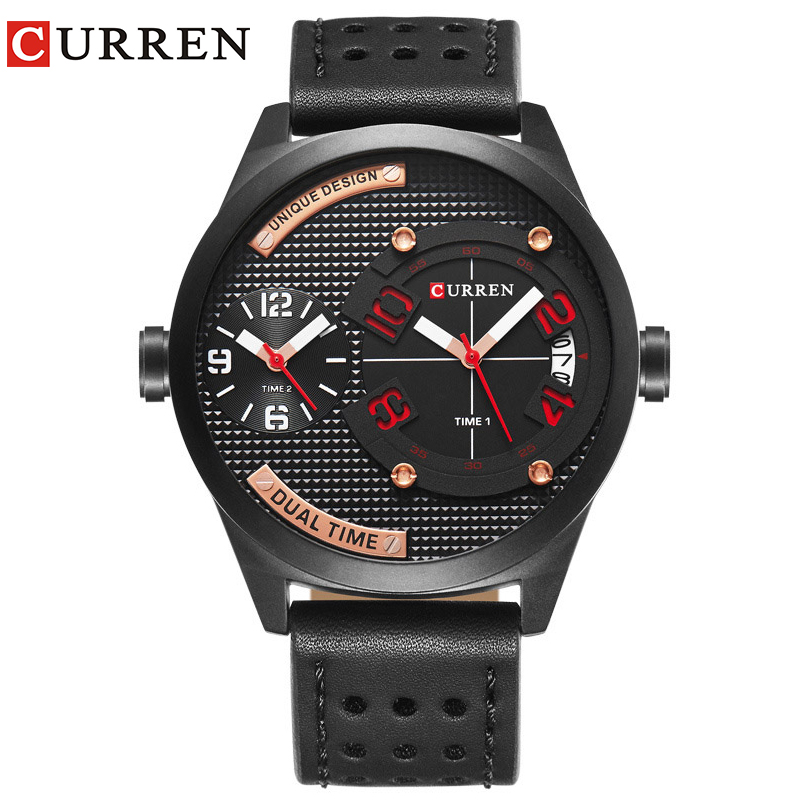 CURREN luxury brand 2017 New black leather Strap Fashion Casual Business 30 meter Waterproof  Relogio Mascu Dual time zone 8252 curren 30 09000345