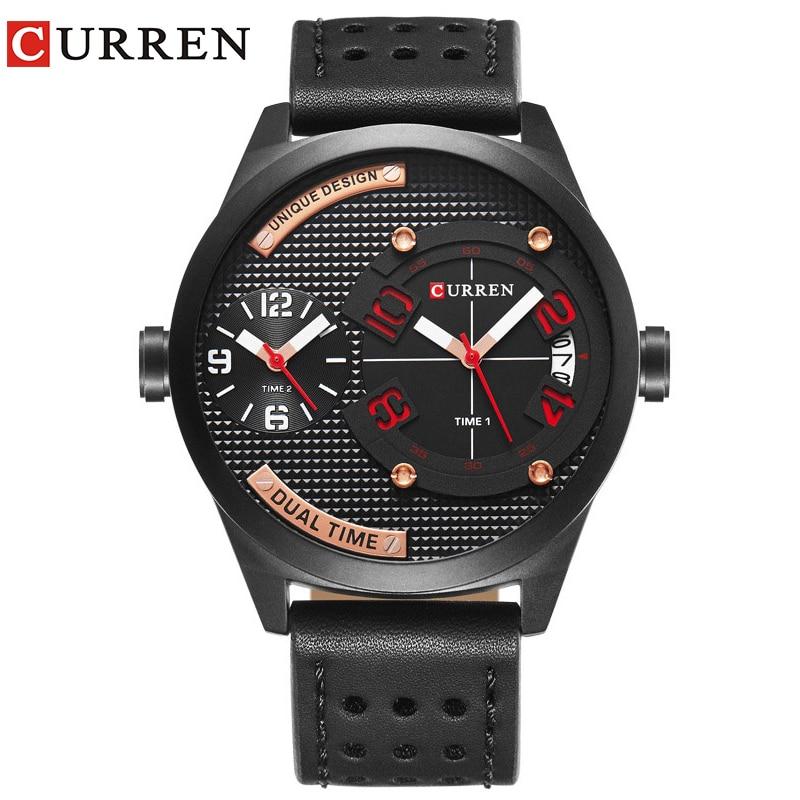 CURREN luxus marke 2017 Neue schwarzes lederarmband Mode Casual Business 30 meter Wasserdicht Relogio Mascu Dual time zone 8252