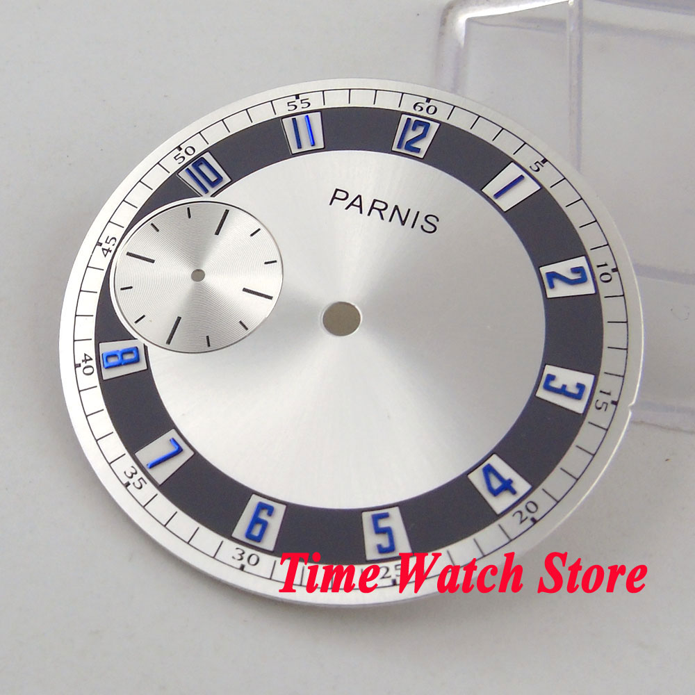 PARNIS 38.3mm silver watch dial blue marks fit eta 6497 <font><b>ST3600</b></font> hand winding movement D100 image