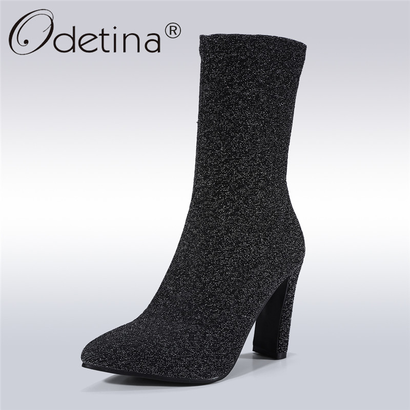 Odetina 2017 Fashion Sock Boots Women Mid-calf Boots High Heel Pointed Toe Black Stretch Fabric Boots Winter Shoes Big Size 43 double buckle cross straps mid calf boots