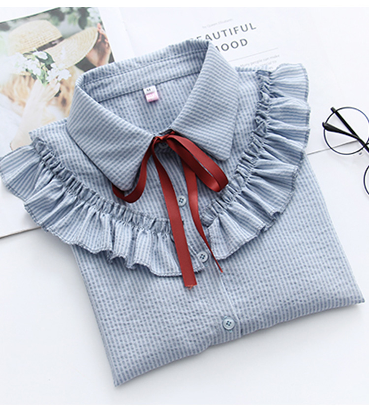 Ruffles Striped Bow Flare Long Sleeve Chiffon Blouse Shirt 7