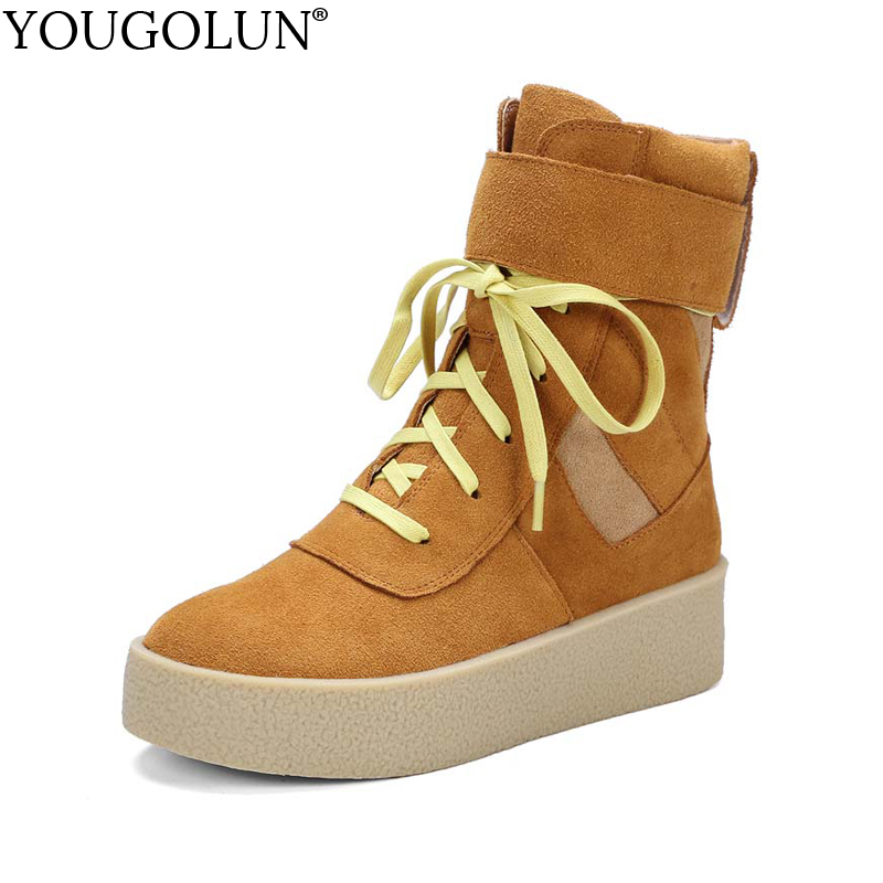 YOUGOLUN Women Ankle Boots Genuine Nubuck Leather 2017 Autumn Winter Cow Suede Platform Flat Shoes Pink Lace Up Boots #Y-215 women s genuine suede leather hemp wedge platform slip on autumn ankle boots brand designer leisure high heeled shoes for women