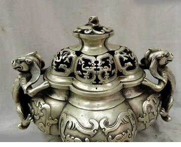 "Zmrui 7 ""Chine argent finamente dragones decorativo quemador incienso incensario estatua de cuivre décoration bronze usine Pur"
