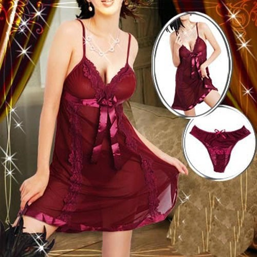 Red Plus Size M L XL XXL <font><b>XXXL</b></font> XXXXL 6XL Women <font><b>Sexy</b></font> <font><b>Lingerie</b></font> <font><b>Babydoll</b></font> Chemise Nightdress Sleepwear Underwear Robe Night Gown image