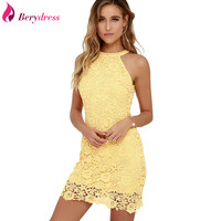 Sexy Party Straight Vestidos De Novia Girls Yellow Mini Skirt Plus Size Women Lace Cocktail Dresses