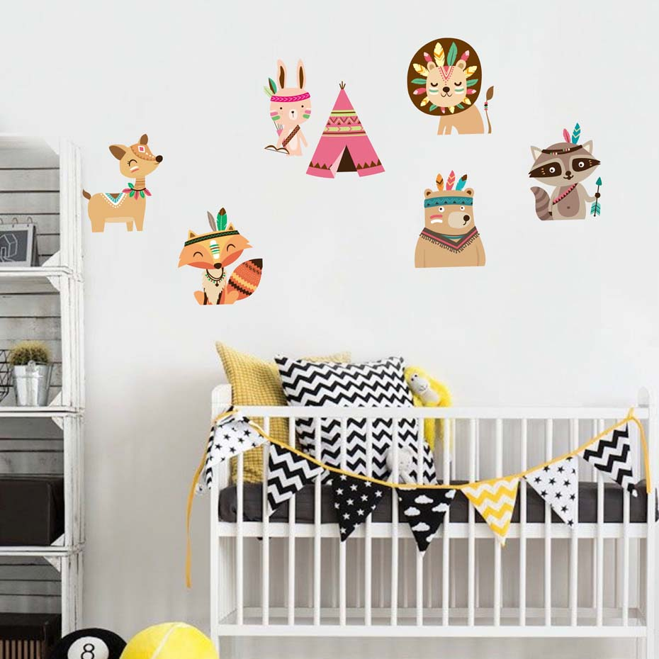 Fox Bedroom Accessories Bedroom Colors For Young Couples Z Gallerie Bedroom Furniture Bedroom Apartment Plan: Cartoon Woodland Lion Fox Decals Wall Art Christmas For