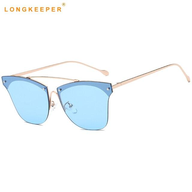 9b5fcaf3da5 Long Keeper 2018 New Women s Sunglasses Brand Design Cat Eye Summer Style  Twin Bean Sun Glasses