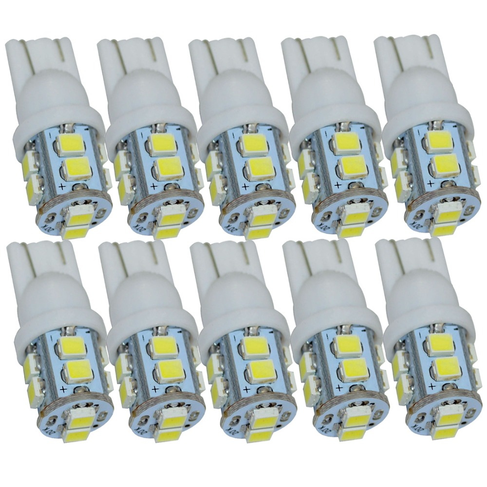 10pcs W5W T10 LED White 194 168 Car clearance Side Wedge lamps 12V T10 W5W LED SMD 1210 10SMD 3528 led Tail Light Bulbs 10 pcs t10 socket w5w 168 194 smd t10 cob led white lights wedge side bulbs for car tail light side parking dome door map light