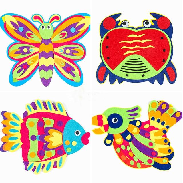 Zyokra 4 Disegni Colorati Animali Puzzle Sticker Feltro Precoce