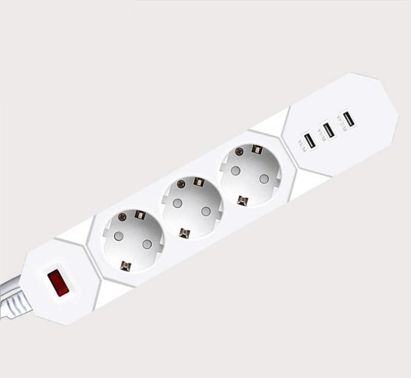 Smart Socket Lightning Protection Power Strip 3USB Ports Quick Charge 3 outlet EU Plug Extension Socket Smart Power Socket