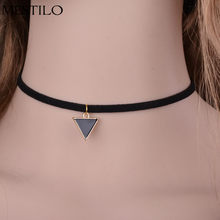2019 New Punk Choker Fashion Simple Black Velvet Rope Geometric Triangle False Collar Necklace for Women Girl collier from India(China)