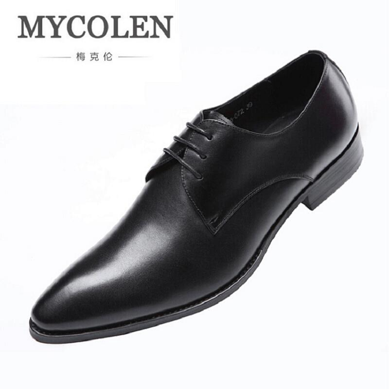 MYCOLEN Fashion Leather Men Dress Shoes Brand Luxury Men'S Business Casual Classic Gentleman Shoes Man Shoes For Wedding fashion men shoes genuine leather men casual shoes brand luxury men s business classic gentleman shoes handmade high quality