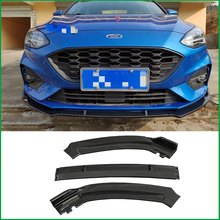 For Ford Focus 2018 2019 ABS Front Bumper Spoiler Protector Plate Lip Body Kit Cover Sticker Trim Decorative Strip Car Styling