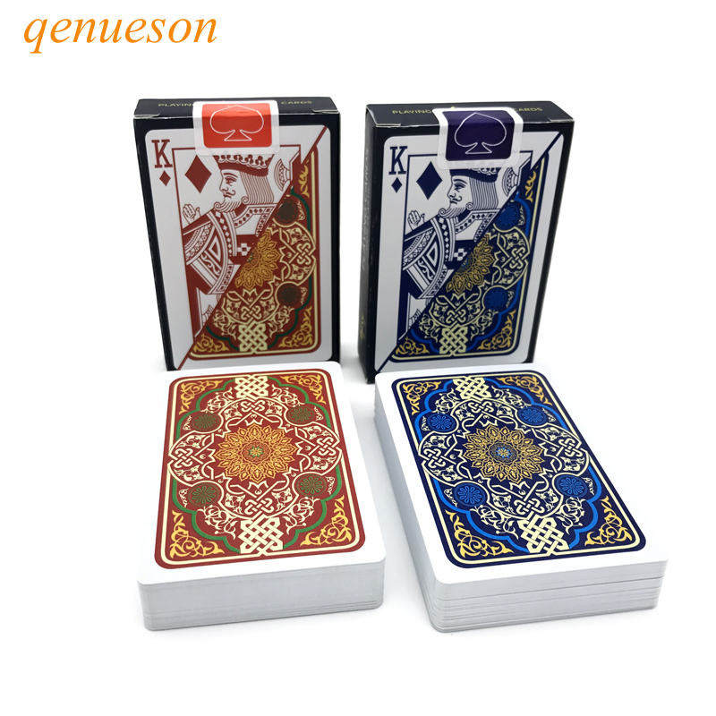 2 Sets/Lot Pattern Baccarat Texas Hold'em Plastic Playing Cards Waterproof Poker Card Board Bridge Games 2.28*3.46 Inch Qenueson