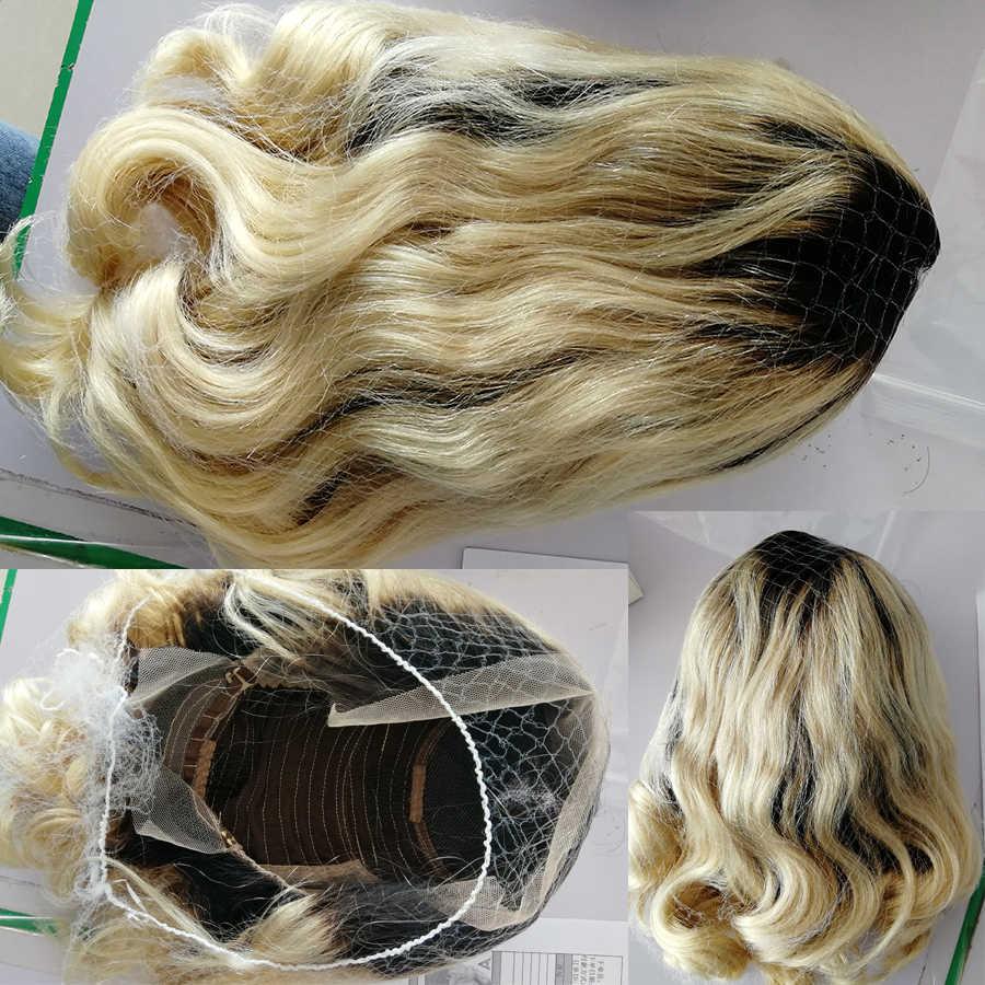 1 b/613 rubio corto Bob 13x4 frente de encaje pelucas de cabello humano Pre desplumado con pelo de bebé 150% peluca de onda Remy brasileña de densidad Aofire