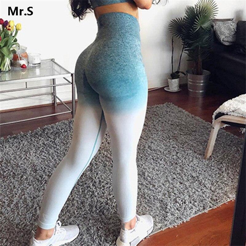 Women Ombre Seamless Leggings Blue Gradient Yoga Pants Push Up Fitness Gym Scrunch Butt Legging Tummy Control Workout Tights недорго, оригинальная цена