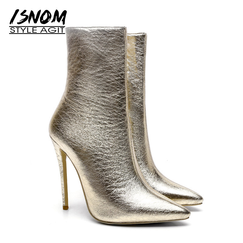 ISNOM hiver cheville femmes bottes 2018 chaud haut cou bout pointu chaussures mode fête chaussons Zip haut talons femmes chaussures-in Bottines from Chaussures    1
