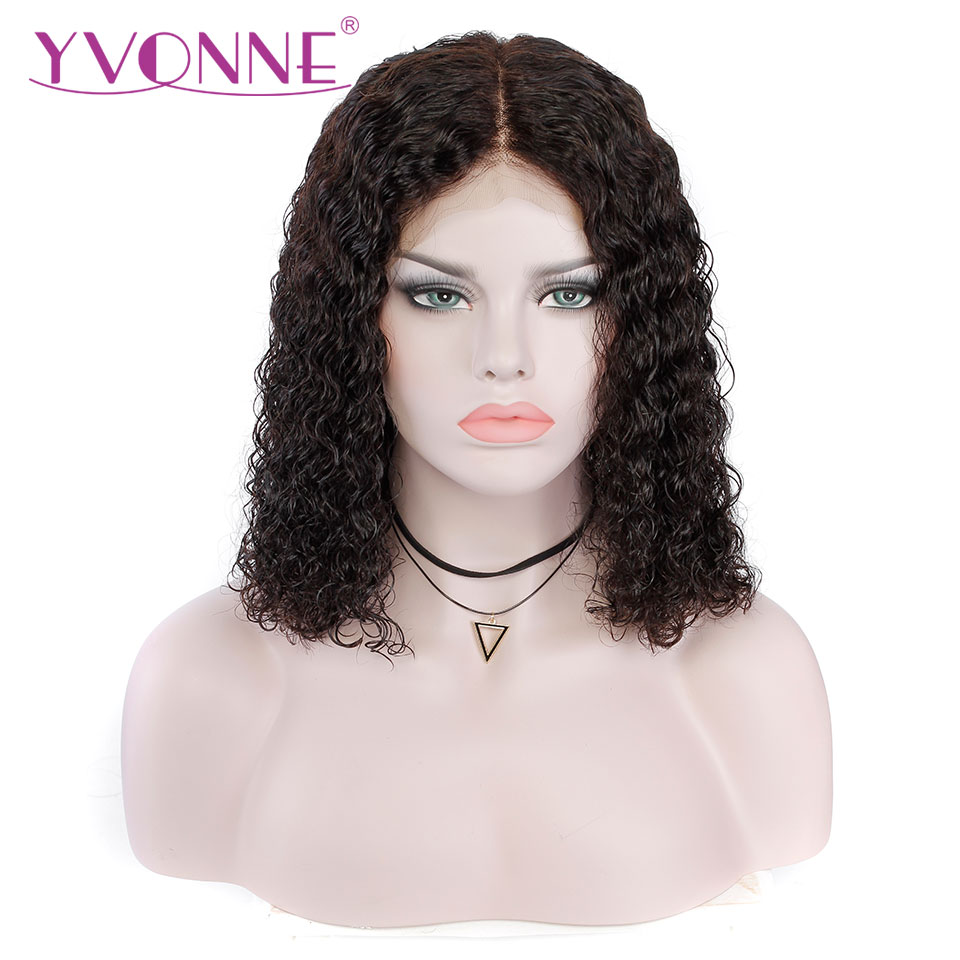 YVONNE Brazilian Curly Short BOB Lace Front Wigs 180% Density Virgin Human Hair Wigs Natural Color