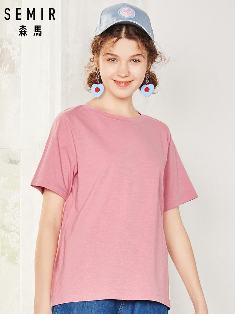 SEMIR T Shirt Women New 100% Cotton T-shirts Womens 2019 Vogue Vintage Tshirts Cotton Women O Neck Short Sleeve Tops