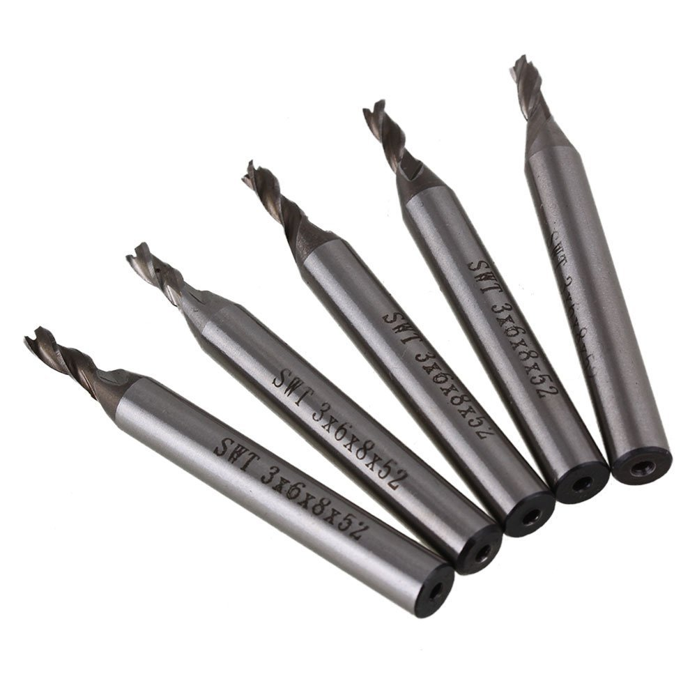 Solid Carbide High-Speed HSS 3 Flutes Straight Shank Milling Cutter End Mill with 3mm Cutting Dia Pack of 5 uxcell 10 pcs silver tone hss 3mm cutting dia straight shank helical groove 2 flutes milling cutter end mill end mill