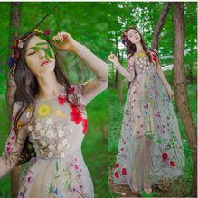 2016 Flower Embroidery Perspective Gauze Maxi Expansion One-piece Dress Bohemia Dress