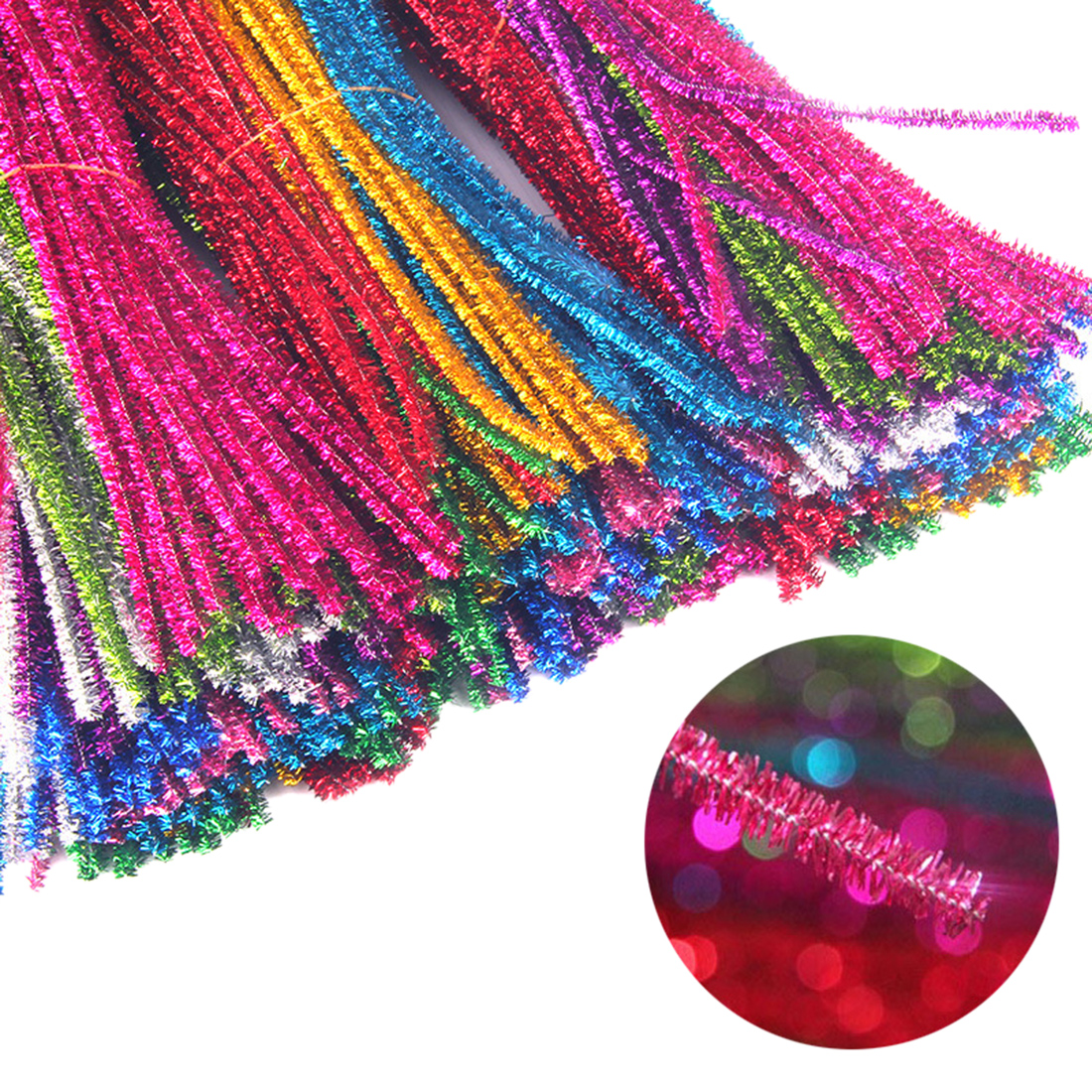 200pcs 30cm DIY Art Craft Glitter Chenille Stems Pipe Cleansers For Crafting DIY Kids Educational Toys-Assorted Colors(10-Color)