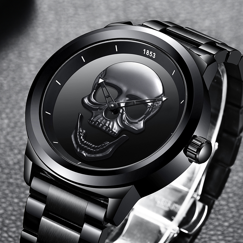 Relogio Masculino 2020 New LIGE Men Watch Top Brand Casual 3D Skull Full Steel Waterproof Military Sport Male Quartz WristWatch