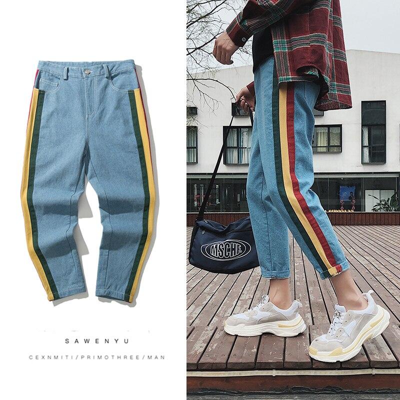2018 New Mens Fashion Casual Blue/black Side Stripe Decorate Cowboy Pants Stretch Slim Fit Homme Jeans Denim Trousers M-2XL