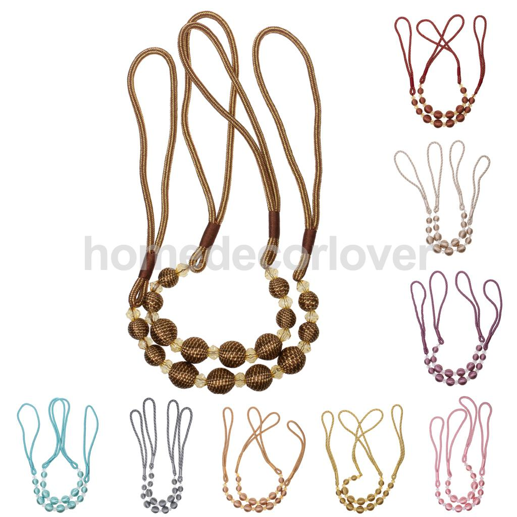 Curtain hardware tiebacks - 2pcs Beads Curtain Rope Tiebacks Tie Belt For Room Window Decor