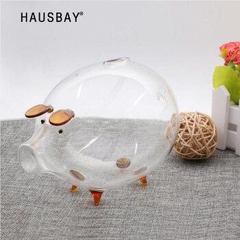 Przezroczyste szkło świnia skarbonka skarbonka pudełka monety skarbonka Cute Piggy pamiątka dla dzieci prezent urodzinowy akcesoria do dekoracji domu 04267
