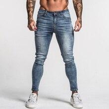 Gingtto męskie obcisłe dżinsy rurki wyblakłe niebieskie środkowe talii klasyczne hip hopowe spodnie rozciągliwe bawełniane wygodne dostawy Dropshipping zm46