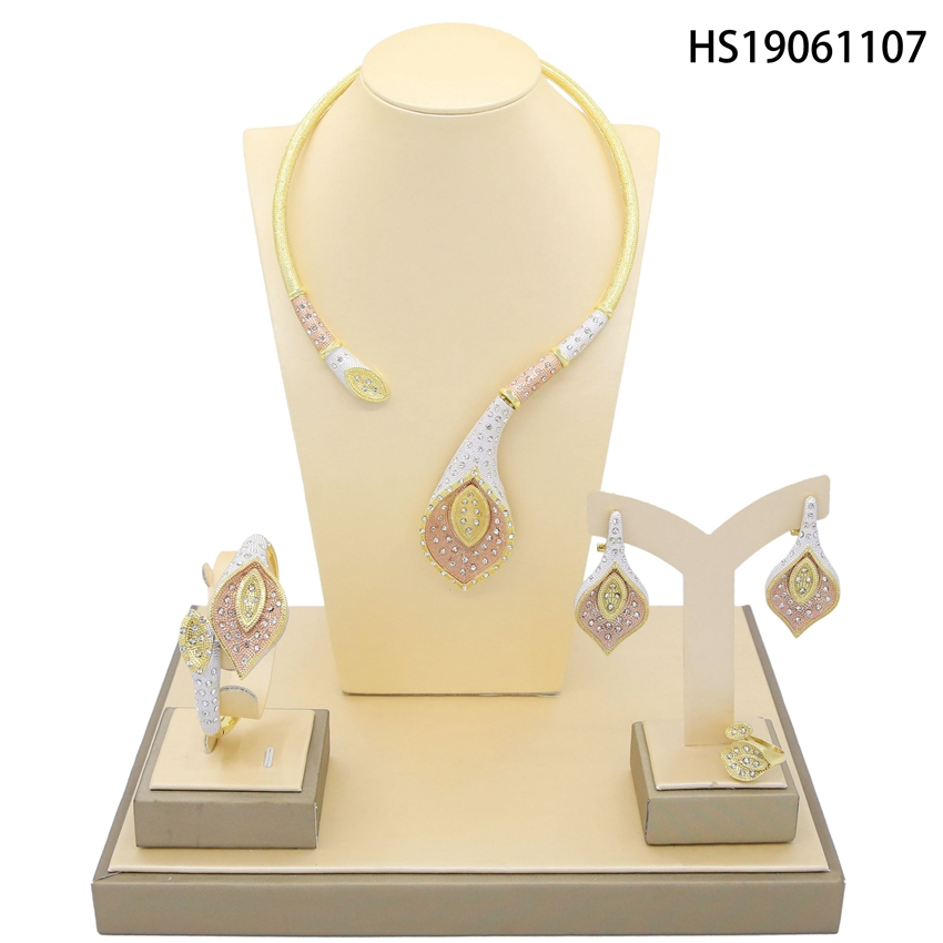 Yulaili High Quality Dubai Gold Jewelry Set For Women African Big Leaf Shape Fashion Necklcace Set Earring Ethiopian Jewelry in Jewelry Sets from Jewelry Accessories