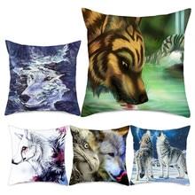 Fuwatacchi Animal Wolf Printed Cushion Cover Moon Mountain Throw Pillow Case Sofa Home Office Car Decorative Pillows