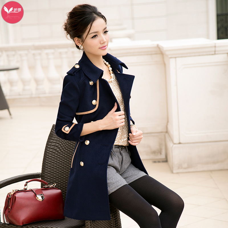 camel navy blue autumn new fashion slim elegant woolen. Black Bedroom Furniture Sets. Home Design Ideas