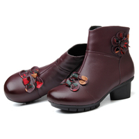 RUSHIMAN New Winter Boots Leather Boots Female Fashion Folk Style With Soft Bottom Shoes And Cotton