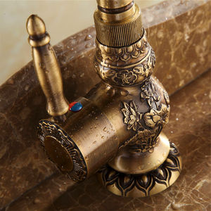 Image 5 - Basin Faucets Antique Brass Bathroom Faucet Grifo Lavabo Tap Rotate Single Handle Hot and Cold Water Mixer Taps Crane AL 9966F
