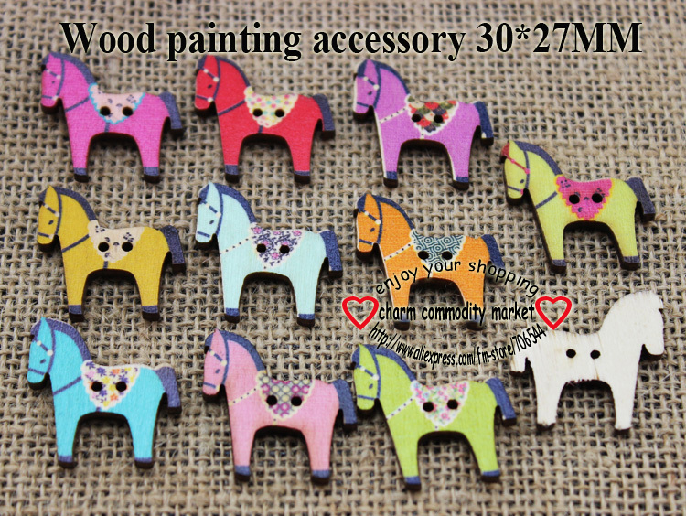 50PCS horse painting wooden buttons kids clothes accessory children jewelry fit crafts WCF-325-1