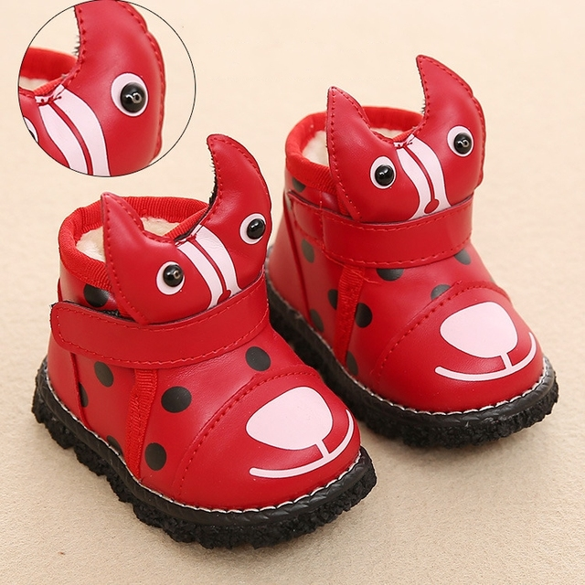 Nuevo bebé snowboot invierno kawaii cartoon ladybug kids sneakers alta calidad moda chaussure led enfant fille térmica