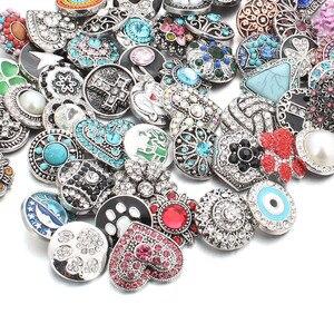 Image 2 - 50 pz/lotto Stile Misto 18mm Bottoni a pressione In Metallo Jewelry 50 Disegni Zenzero Scatto di Cristallo Fit 18mm Snap Bracelet braccialetti Collana