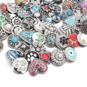 Image 2 - 50pcs/lot Mixed Style 18mm Metal Snap Buttons Jewelry 50 Designs Ginger Crystal Snap Fit 18mm Snap Bracelet Bangles Necklace