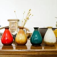 Desktop Vase For New Classical Room Decoration Glazed Retro Cute Ceramic Mini Dried Flower Tabletop Vase