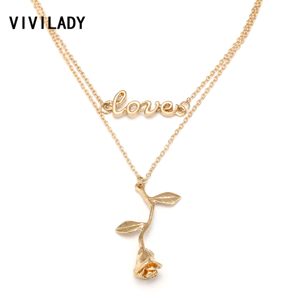 VIVILADY Boho Multi Layers Rose Flower Love Letter Choker Necklace Women Gold Color Metal Chain Lover Jewelry Party Summer Gifts