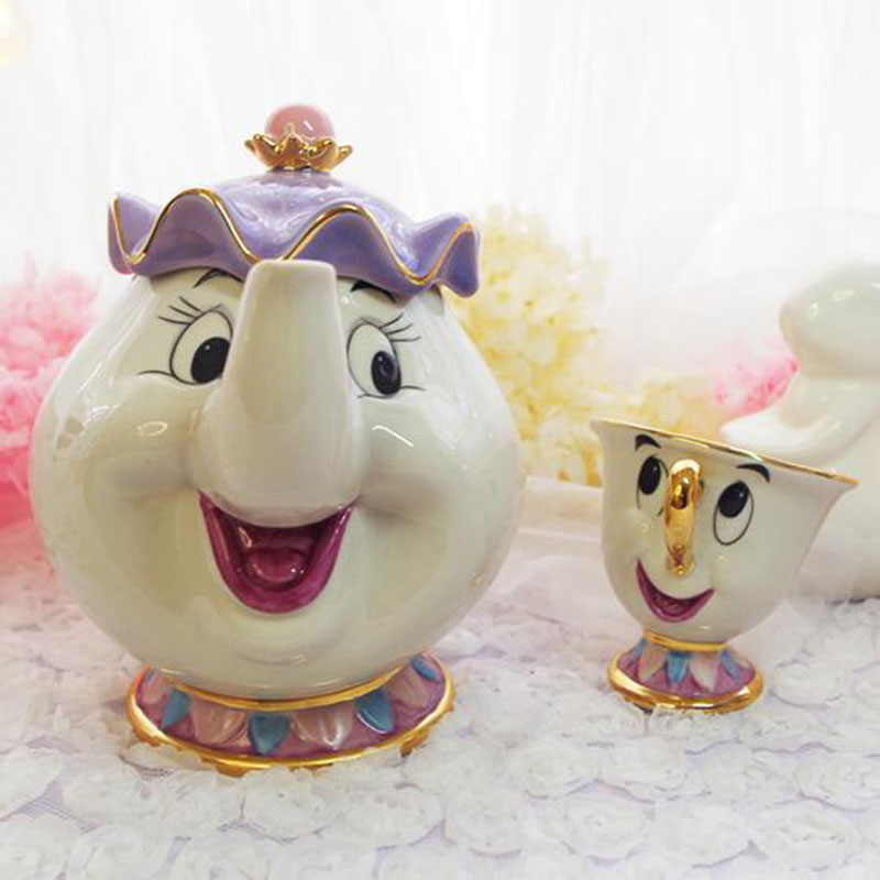 Vente chaude vieux dessin animé thé Beauté et la bête Mme Potts puce théière tasse de thé ensemble de mignon De Noël créatif Cadeau d'anniversaire