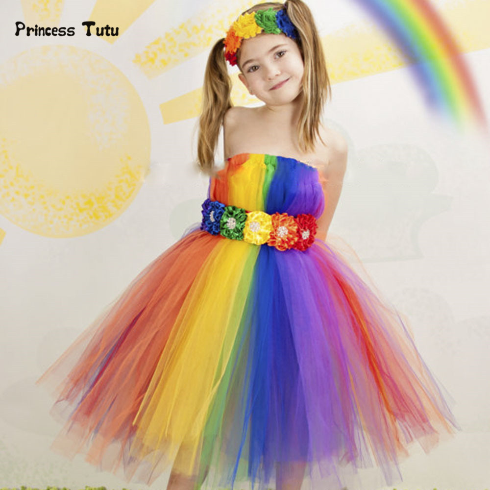 Colorful Rainbow Girls Dress Princess Ball Gown Tutu Dress For Party Wedding Festival Costumes Girl Kids Birthday Tulle Dresses 2018 new summer girl children s ball gown princess dress costumes feathers wedding dresses girls kids lace tutu dresses d048