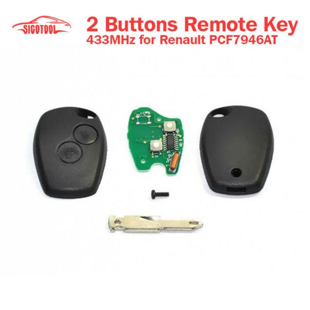 Venda quente 2 botões do controle remoto chave PCF7946 433 MHz para Renault com frete grátis